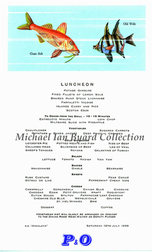 Luncheon Menue 12 July 1958