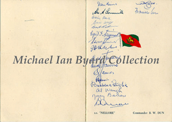 Menu cover with signatures of Passengers and Officers