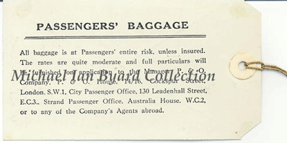 Reverse of P and O Flag Baggage Label