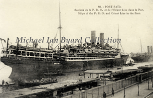 P and O S.S. China at Port Said 1920s
