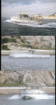 Three photos of Fervant under way in Gibraltar early 2005